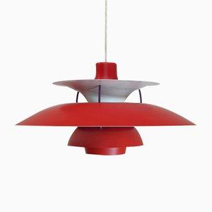 Lampe à Suspension PH5 Rouge par Poul Henningsen pour Louis Poulsen, Danemark
