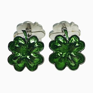 Green Hand-Enameled Sterling Silver Cufflinks with Four Leaf Clover Shape from Berca