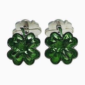 Grüne Manschettenknöpfe aus handemailliertem Sterling Silber mit Kleeblattform von Berca