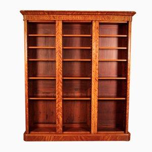 Librería abierta triple grande de madera satinada