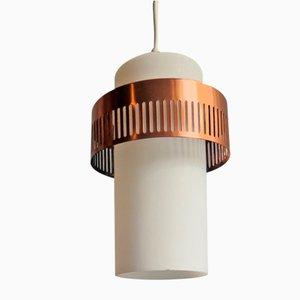 Lampada da soffitto vintage in metallo opalino e ramato, anni '50