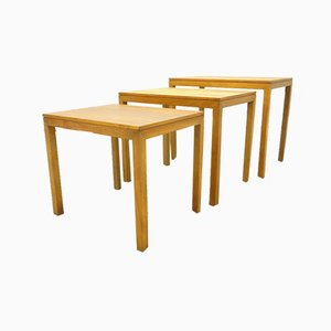 Bauhaus Walnut Nesting Tables, 1930s, Set of 3