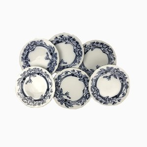 Brown, Blue and White Earthenware Plates with Rose & Ivy Pattern from Westhead, Moore & Co., England, 1870s, Set of 6