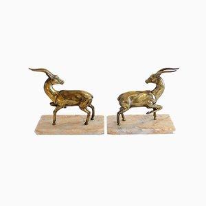Art Deco Gazelle Bookends, Set of 2