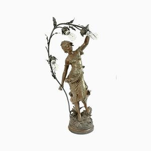 Große Jugendstil Bronzeskulptur von August Moreau