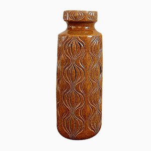 Large Mid-Century German Ceramic Textured Floor Vase from Scheurich, 1970s