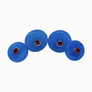 Runde Manschettenknöpfe in Rubinrot & Blau mit Jadegold von Berca
