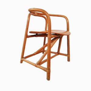 Bamboo & Wood DIning Chairs in the Style of Axel Enthoven, Set of 4