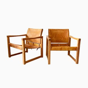 Cognac Leather Model Diana Easy Chairs by Karin Mobring for Ikea, 1970s, Set of 2