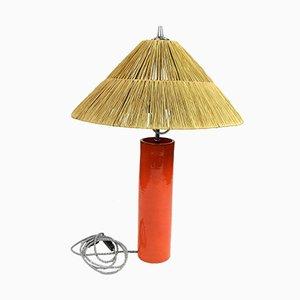 Lampada da tavolo in ceramica arancione, canna e metallo cromato, anni '70