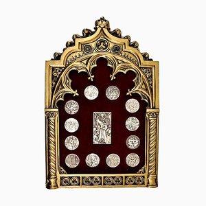 Medaglie decorative 916 in argento con cornice, set di 14