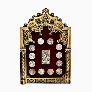 Silberne 916 dekorative Medaillen in Rahmen, 14er Set