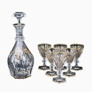 Baccarat Crystal Bottle & Goblets, Set of 8
