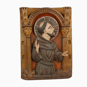 19th Century Carved Wooden Saint Francis Altarpiece