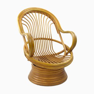 Mid-Century Bambo Swivel Rocking Chair, 1970s