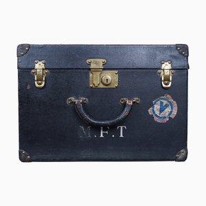 Baúl de cuero negro de Louis Vuitton, años 20