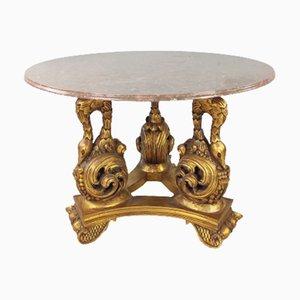 Tavolo grande in marmo rosa e legno, set di 2