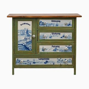 Art Nouveau Hallway Cabinet with Porcelain Inlays and Maritime Painting