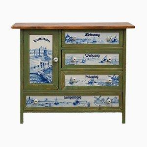 Mueble de recibidor modernista con incrustaciones de porcelana y pintura marítima