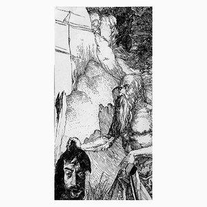 Filippo Mattarozzi, Incisione di Dürer raffigurante San Girolamo nel deserto, matita e inchiostro