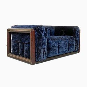 Italian Mid-Century Modern Blue Corduroy Cornaro Sofa by C. Scarpa for Gavina, 1973