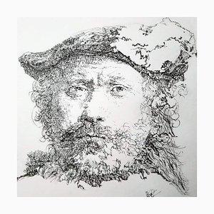 Filippo Mattarozzi, Self-Portrait, Rembrandt, Pencil and Ink