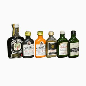 Bottiglie pubblicitarie Mignon vintage, Italia, anni '70, set di 51