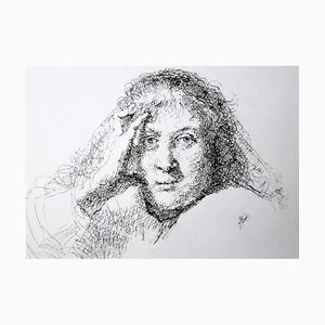 Filippo Mattarozzi, detalle de mujer, cabeza de Rembrandt, lápiz y tinta