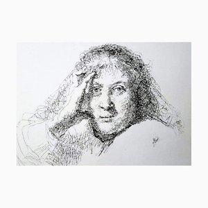 Filippo Mattarozzi, Particolare di donna, testa di Rembrandt, matita e inchiostro