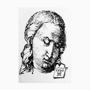 Filippo Mattarozzi, Portrait mit Pelzmantel II, Bleistift und Tusche, Gravur Zeichnung