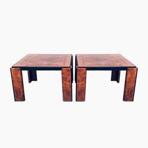 Postmodern Italian Burl Wood Side Table Set, 1970s, Set of 2