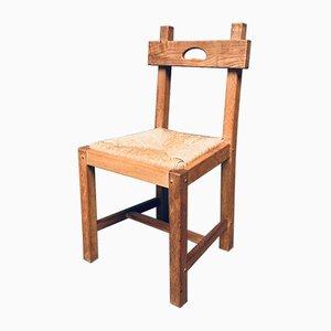 Belgian Brutalist Oak Dining Chair Set, 1960s, Set of 8
