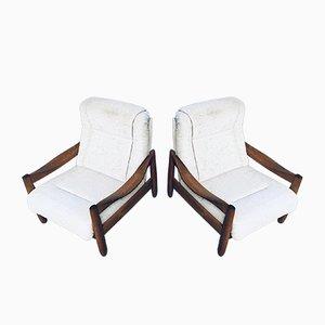 Mid-Century Modern Scandinavian Oak Armchair Set, 1970s, Set of 2
