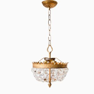 French Glass Ceiling Lamps, Set of 2