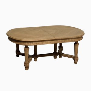 Large French Bleached Oak Extending Dining Table