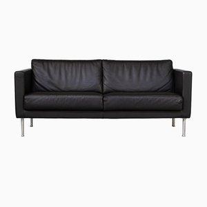Black Leather Divani e Poltrone Sofa by Giulio Marelli, 1990s