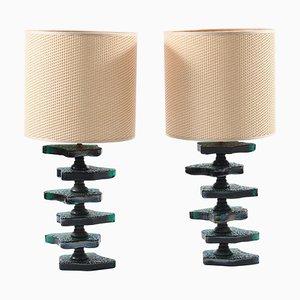 Italienische Mid-Century Lampen aus irisierendem Muranoglas von Cenedese, 2er Set