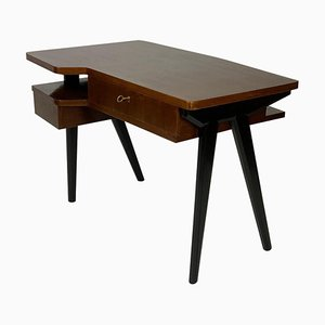 Mid-Century Italian Black Lacquered Writing Desk with Tapered Slender Legs