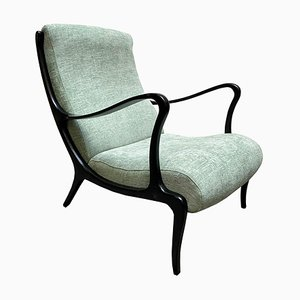 Armchair in Wood and Green Fabric by Ezio Longhi for Elam, Italy, 1950