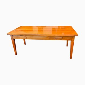 Neoclassical Expandable Dining Table in Cherry Wood & Chestnut, France, 1820s