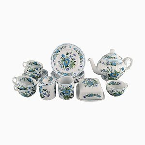 Mulberry Tea Service in Hand-Painted Porcelain from Spode, England, Set of 19