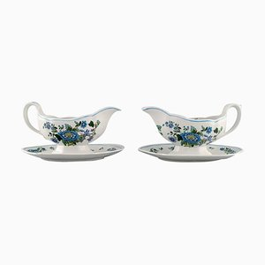 Mulberry Sauce Boats in Hand-Painted Porcelain from Spode, England, Set of 2