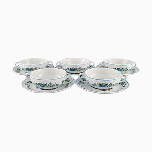 Mulberry Bouillon Cups with Saucers in Porcelain from Spode, England, Set of 10
