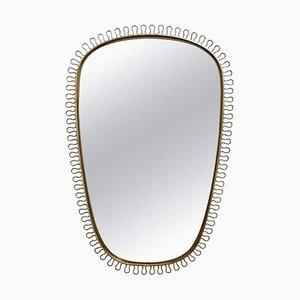 Mid-Century Brass Wall Mirror by Josef Frank, 1950s
