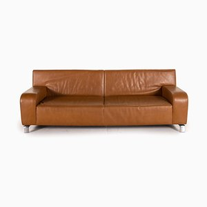 Braunes 3-Sitzer B-Flat Ledersofa von Leolux