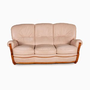 Nevada Cream Leather 3-Seater Sofa from Nieri