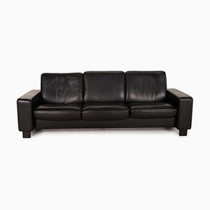 3-Seater Black Leather Sofa from Stressless