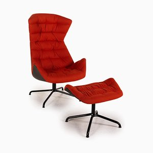 Model 808 Fabric Armchair & Stool Set from Thonet