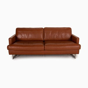 2-Seater Brown Leather Sofa from Gepade