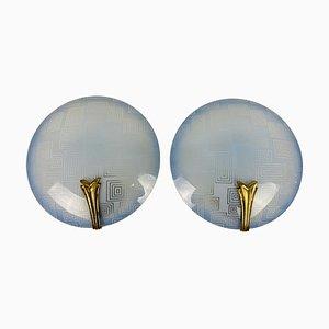 Applique in ottone e vetro blu, Germania, anni '60, set di 2